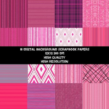 DIGITAL PAPER- PINK PASSION BACKGROUND SCRAPBOOK PAPER