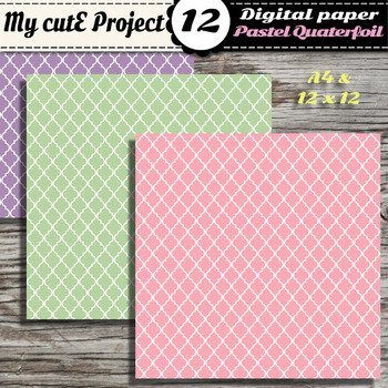 DIGITAL PAPER Quaterfoil Pastel - Scrapbooking  & graphics - Geomatric Shapes