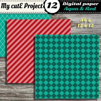 DIGITAL PAPER Red & Aqua - Argyle, stripes, polka dots, chevron, quaterfoil