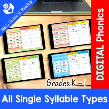 DIGITAL & PAPER Syllable Sort BUNDLE Grades K-1