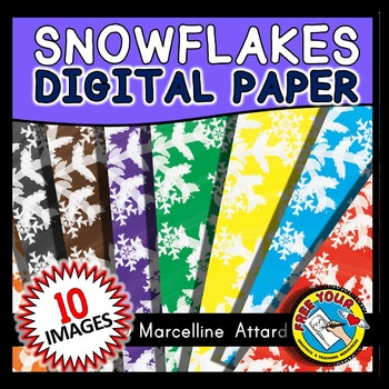 WATERCOLOR SNOWFLAKES DIGITAL PAPERS: WINTER CLIPART: SNOWFLAKES BACKGROUNDS