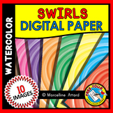 SWIRLS DIGITAL PAPER BACKGROUNDS WATERCOLOR CLIPART