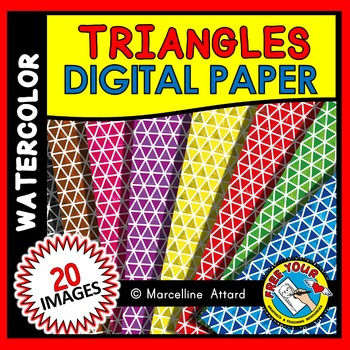 WATERCOLOR CLIPART: WATERCOLOR TRIANGLES DIGITAL PAPER: BACKGROUNDS CLIPART