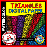 TRIANGLES DIGITAL PAPER BACKGROUNDS WATERCOLOR CLIPART