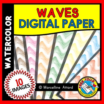 WAVES DIGITAL PAPER: WATERCOLOR BACKGROUNDS: WATERCOLOR CLIPART BACKDROPS