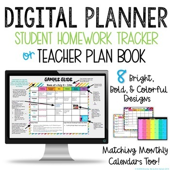 DISTANCE LEARNING DIGITAL PLANNER - Google Classroom - Student/Teacher Plan Book