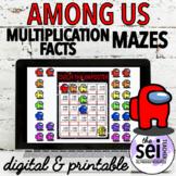DIGITAL & PRINTABLE AMONG US MATH WORKSHEETS - MULTIPLICATION FACTS MAZES