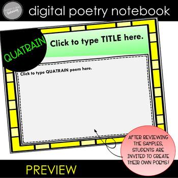 DIGITAL Poetry Notebook Grades 3-5