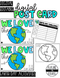 DIGITAL Postcard for students: Earth Day + Earth Day activity!