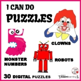 PUZZLES of CLOWNS, MONSTER NUMBERS, ROBOTS ... K-1  DIGITAL Paperless