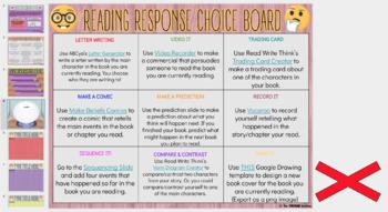 DIGITAL READING RESPONSE CHOICE BOARD FOR GOOGLE DRIVE™