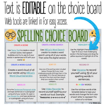 DIGITAL SPELLING/WORD STUDY ACTIVITIES CHOICE BOARD FOR GOOGLE DRIVE™