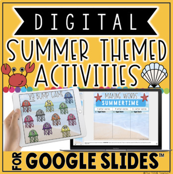 digital summer themed activities for google slides by the techie