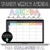 DIGITAL Spanish Weekly Agenda - Google Slides or PowerPoin