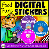 DIGITAL Stickers for Distance Learning (Food Puns Motivati