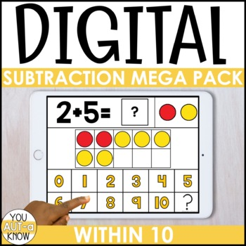 DIGITAL Subtraction Mega Pack for Special Education (within 10)