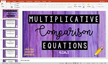 Multiplicative Comparison Equations 4.OA.1 | DIGITAL GAME + PDF TASK CARDS