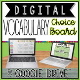 VOCABULARY DIGITAL CHOICE BOARD FOR GOOGLE DRIVE™