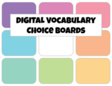 DIGITAL Vocabulary Choice Boards for Any List