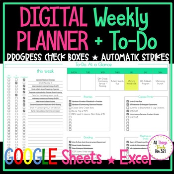 DIGITAL Weekly Planner + To Do!
