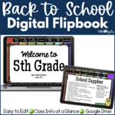 DIGITAL Welcome Back to School Flipbook for Meet the Teacher Night