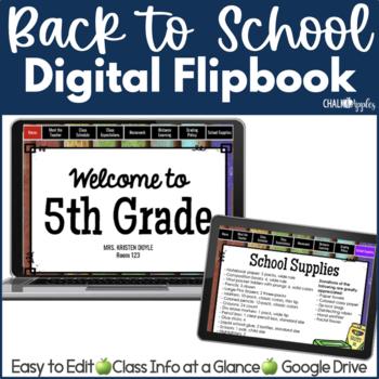 DIGITAL Welcome Back to School Flipbook for Meet the Teacher Night