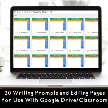 """DIGITAL """"Would You Rather"""" Writing Prompts- Grades 3-6 for Google Classroom"""