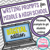 Writing Prompts for Middle and High School Vol.2 - PAPERLESS
