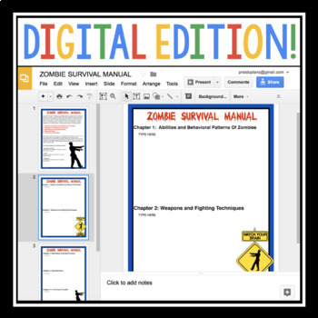 DIGITAL ZOMBIE HALLOWEEN WRITING ASSIGNMENT PAPERLESS DIGITAL GOOGLE
