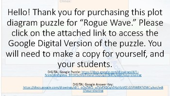 DIGITAL and EDITABLE Plot Diagram Puzzle- Rogue Wave