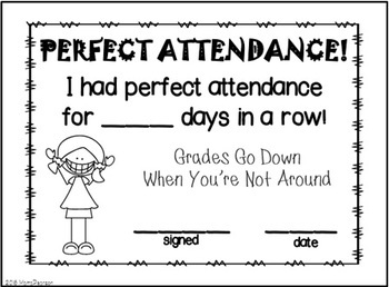DIGITAL and PAPER Bright Colors Attendance Incentive
