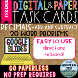 DIGITAL and PAPER Task Cards--Decimals-Adding and Subtract