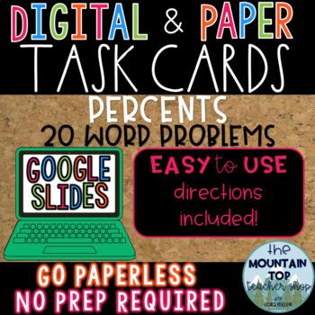 DIGITAL and PAPER Task Cards--Percent Word Problems--GOOGLE SLIDES