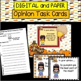 DIGITAL and PAPER Thanksgiving Opinion Task Cards