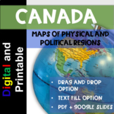DIGITAL and Printable Maps of Canada - Physical Regions and Political Regions
