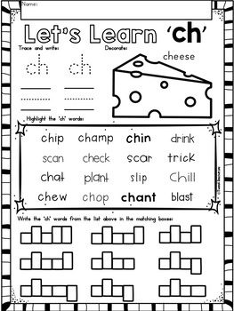 Digraphs No Prep Phonics Printables Bundle for Kindergarten and First Grade