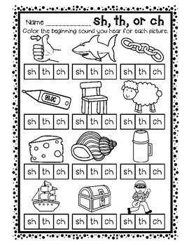 DIGRAPH SH, TH, CH Word Work