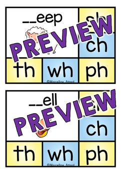 PHONICS CLIP CARDS: DIGRAPHS CLIP CARDS: LITERACY CENTER