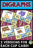 CONSONANT DIGRAPHS SH TH WH CH PH (PHONICS KINDERGARTEN LITERACY CENTER)