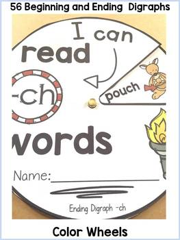 50% OFF-DIGRAPHS: BEGINNING AND ENDING: READING WORD WHEELS