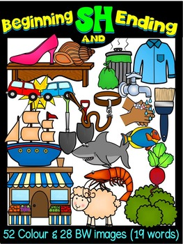 DIGRAPHS CLIPART  BUNDLE BEGINNING & ENDING CH, SH AND TH SOUNDS (67 words)