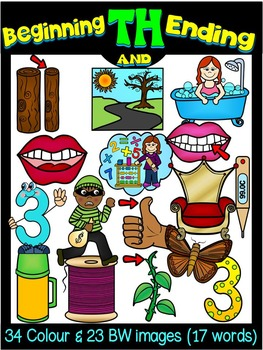 DIGRAPHS-BEGINNING & ENDING TH DIGRAPH CLIP ART GRAPHICS
