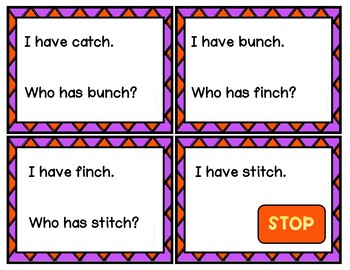 Digraphs with CH Endings Reading Games