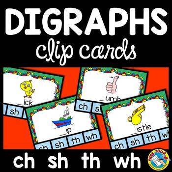 DIGRAPH ACTIVITIES (PHONICS CLIP CARDS) BEGINNING DIGRAPHS CENTER