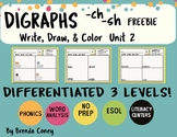 DIGRAPHS Differentiated Literacy Center: -sh and -ch (Write,Draw,Color)