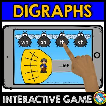BOOM CARDS FLY ACTIVITIES DIGRAPH GAMES (BEGINNING DIGRAPHS DIGITAL TASK CARDS)