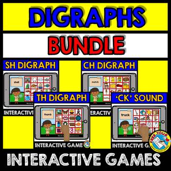 DIGRAPHS INTERACTIVE GAMES BUNDLE (READING DIGRAPH WORDS BOOM CARDS)