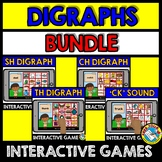 CONSONANT DIGRAPHS GAMES (READING ACTIVITIES BOOM CARDS BUNDLE PHONICS)
