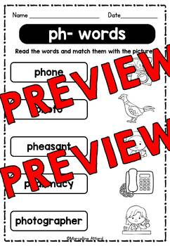 DIGRAPHS WORKSHEETS (MATCHING WORD WORK ACTIVITIES) PHONICS WORKSHEETS