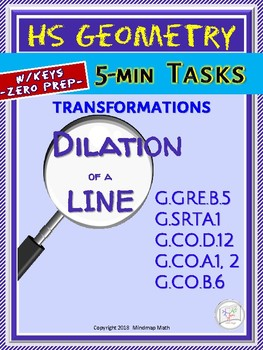 DILATION of a line (HS Geometry Curriculum in 5 min tasks - Unit 23)